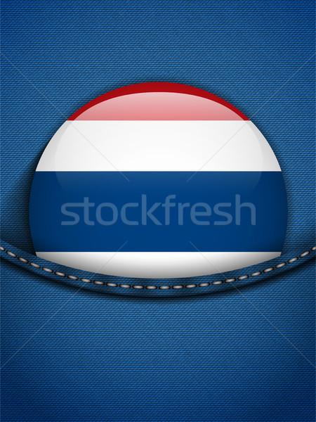 Tayland bayrak düğme kot cep vektör Stok fotoğraf © gubh83