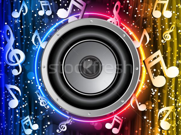 дискотеку оратора музыки отмечает неоновых радуга круга Сток-фото © gubh83