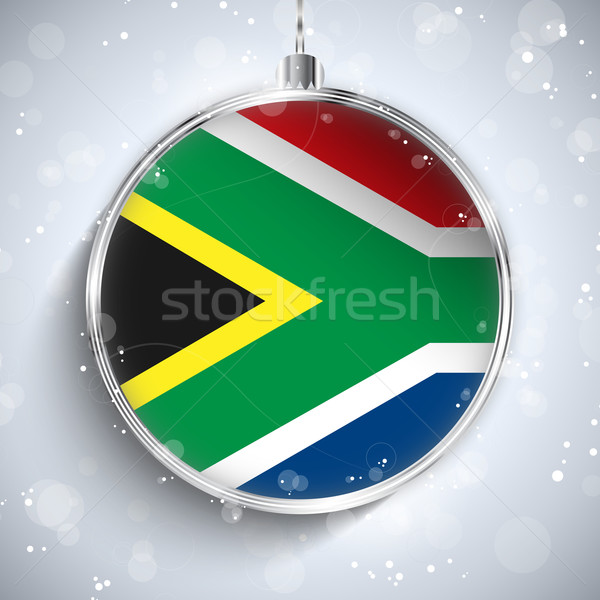 Merry Christmas Silver Ball with Flag South Africa Stock photo © gubh83