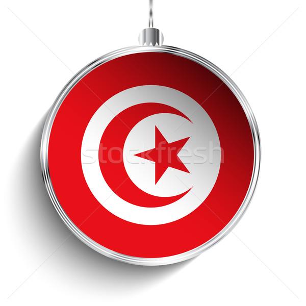 Neşeli Noel gümüş top bayrak Tunus Stok fotoğraf © gubh83