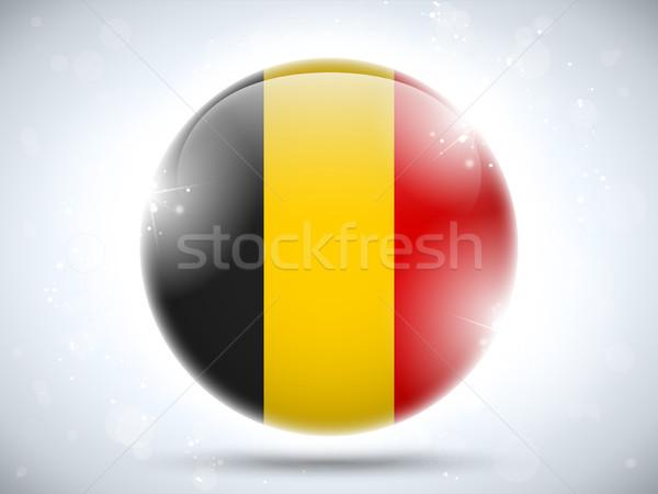 Belçika bayrak parlak düğme vektör cam Stok fotoğraf © gubh83