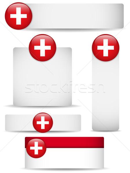 İsviçre ülke ayarlamak afişler vektör iş Stok fotoğraf © gubh83