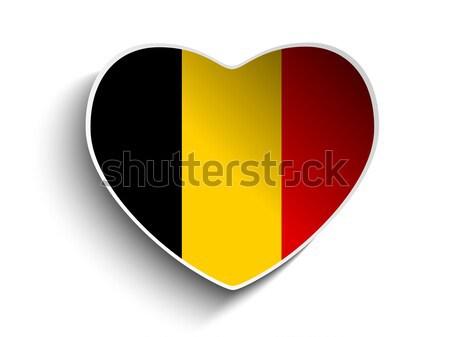 Belçika bayrak kalp kâğıt etiket vektör Stok fotoğraf © gubh83