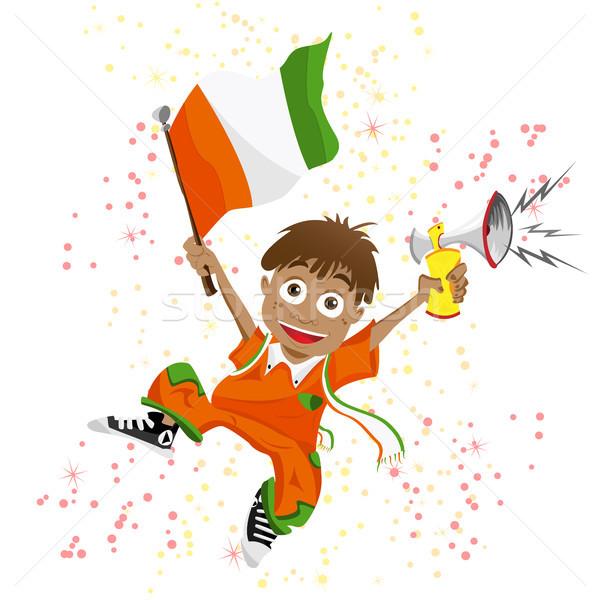 Берег Слоновой Кости спорт вентилятор флаг Роге вектора Сток-фото © gubh83