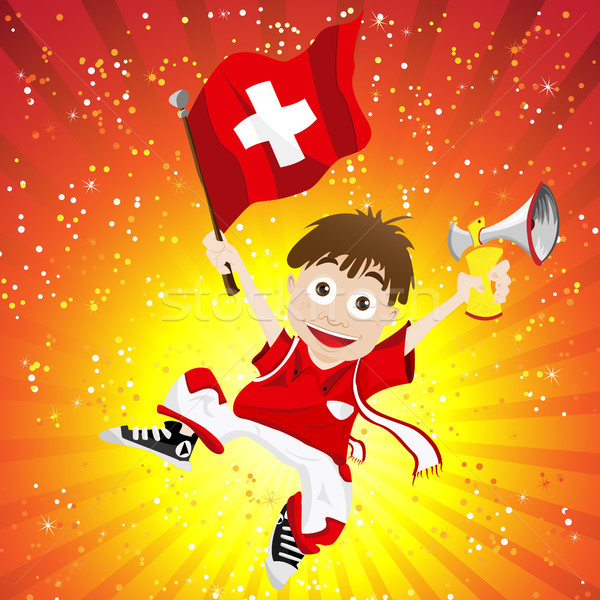 Switzerland Sport Fan with Flag and Horn Stock photo © gubh83