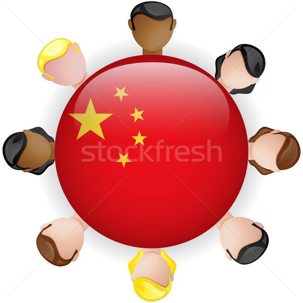 Chiny banderą przycisk zespołowej ludzi grupy Zdjęcia stock © gubh83