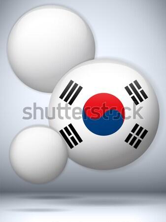 Corea del Sur bandera botón vector vidrio Foto stock © gubh83