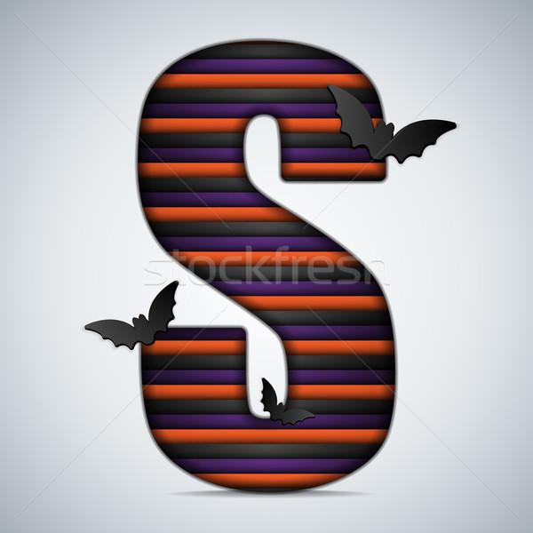 Halloween Bat Alphabet Letters Stripe Black Orange Purple Stock photo © gubh83