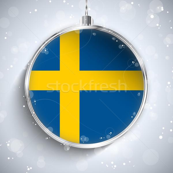 Vrolijk christmas zilver bal vlag Zweden Stockfoto © gubh83