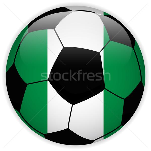 Nijerya bayrak futbol topu vektör dünya futbol Stok fotoğraf © gubh83