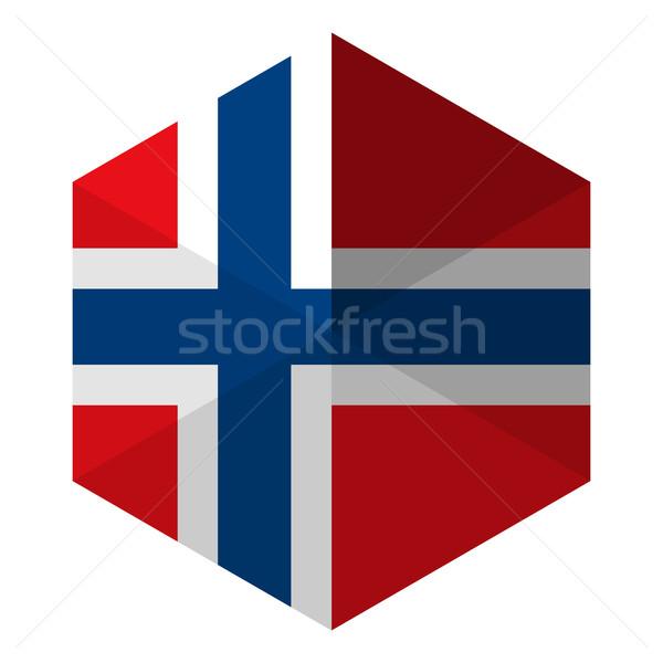 Norvégia zászló hatszög ikon gomb világ Stock fotó © gubh83