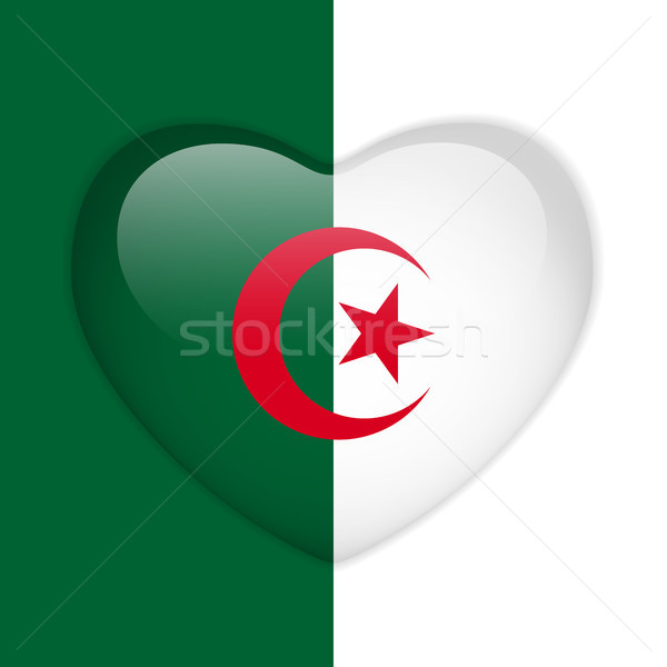 Алжир флаг сердце кнопки вектора Сток-фото © gubh83