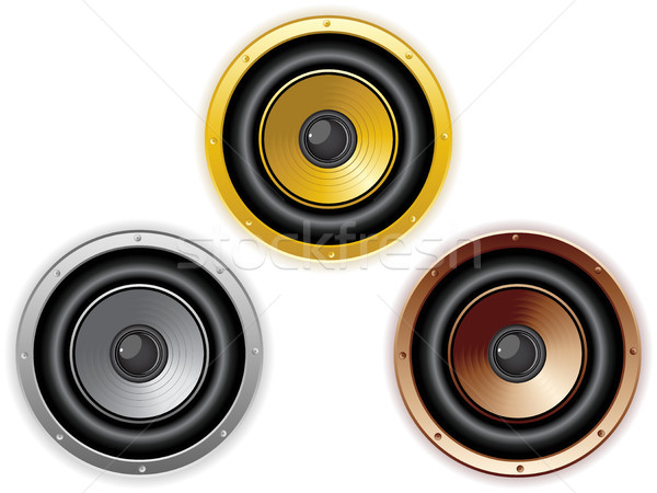 Round Isolated Sound Speaker. Set of 3 colors Stock photo © gubh83
