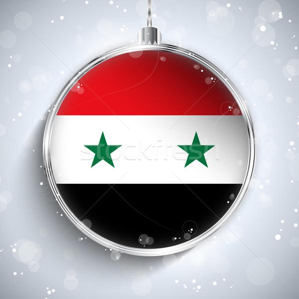 Alegre natal prata bola bandeira Síria Foto stock © gubh83