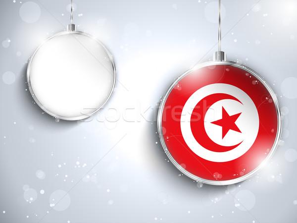 Alegre natal prata bola bandeira Tunísia Foto stock © gubh83