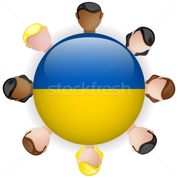 Ukraine Flag Button Teamwork People Group Stock photo © gubh83