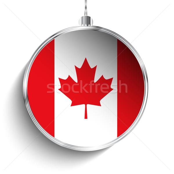 Alegre natal prata bola bandeira Canadá Foto stock © gubh83