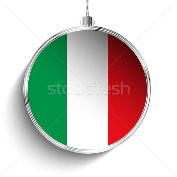 陽気な クリスマス 銀 ボール フラグ イタリア ストックフォト © gubh83