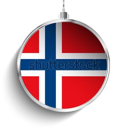 Neşeli Noel gümüş top bayrak Norveç Stok fotoğraf © gubh83