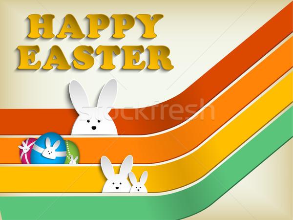 Vrolijk pasen konijn bunny retro papier voorjaar Stockfoto © gubh83