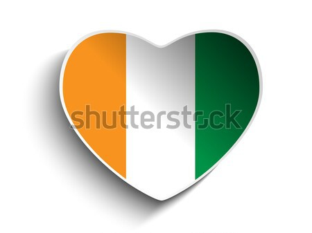 İrlanda bayrak kalp kâğıt etiket vektör Stok fotoğraf © gubh83