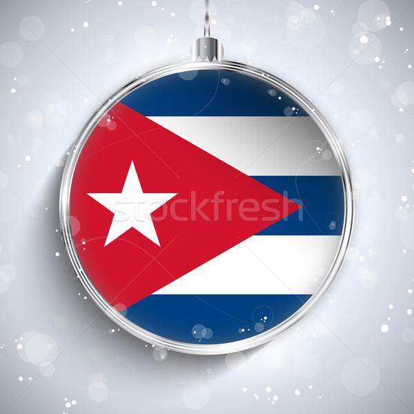 веселый Рождества серебро мяча флаг Куба Сток-фото © gubh83