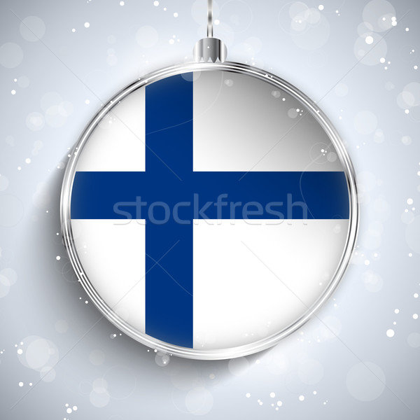 Merry Christmas Silver Ball with Flag Finland Stock photo © gubh83