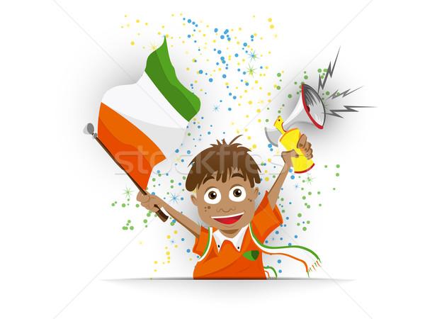 Берег Слоновой Кости Футбол вентилятор флаг Cartoon вектора Сток-фото © gubh83