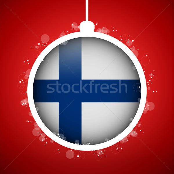 веселый Рождества красный мяча флаг Финляндия Сток-фото © gubh83