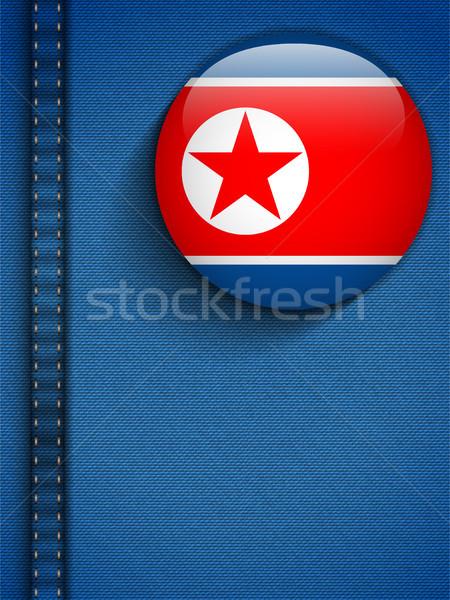 Na północ banderą przycisk dżinsy kieszeni wektora Zdjęcia stock © gubh83