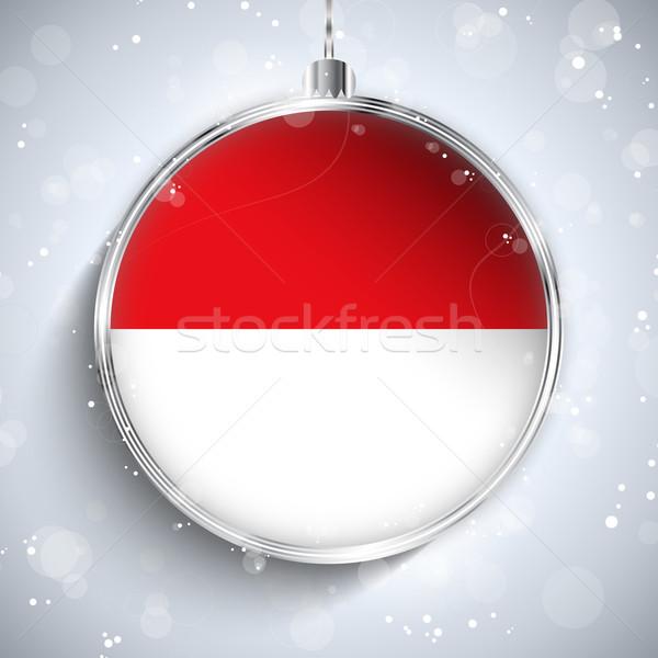 веселый Рождества серебро мяча флаг Монако Сток-фото © gubh83