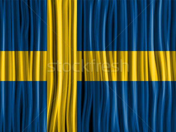 Швеция флаг волна ткань текстуры вектора Сток-фото © gubh83