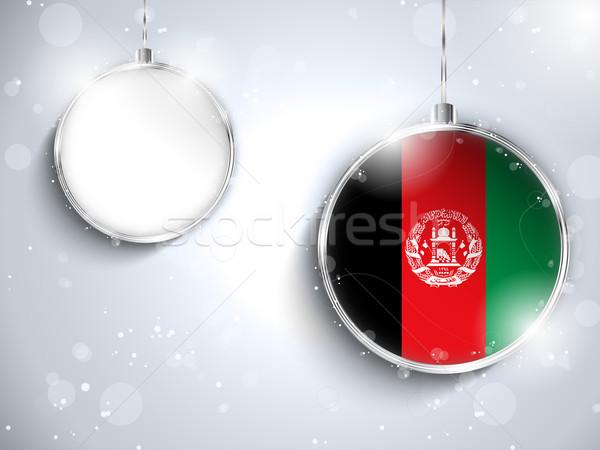 Alegre natal prata bola bandeira Afeganistão Foto stock © gubh83