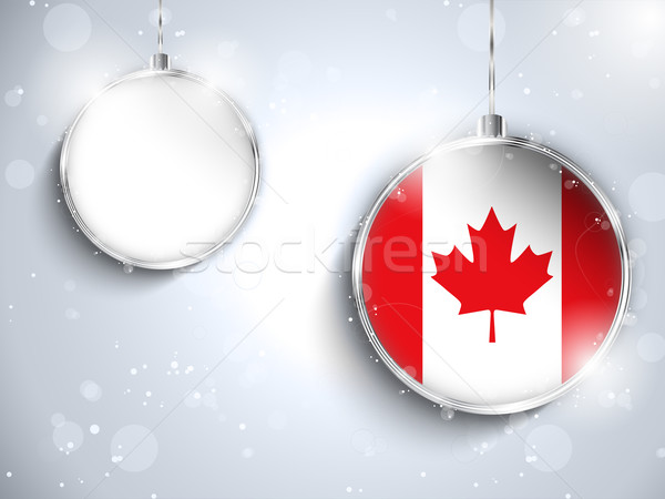 Merry Christmas Silver Ball with Flag Canada Stock photo © gubh83