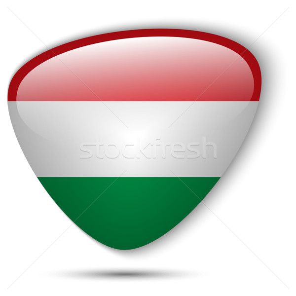 Hungría bandera botón vector vidrio Foto stock © gubh83