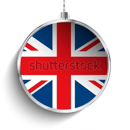 Merry Christmas Silver Ball with Flag United Kingdom UK Stock photo © gubh83