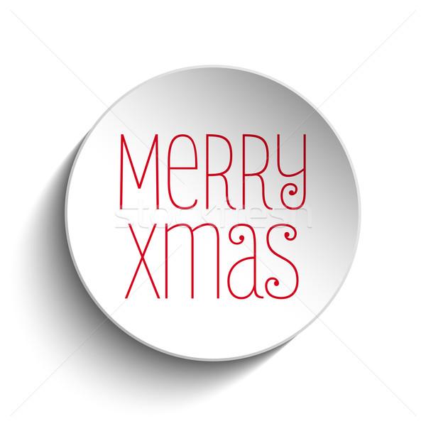 Stok fotoğraf: Neşeli · Noel · ikon · düğme · kırmızı · vektör