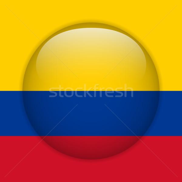 Stockfoto: Colombia · vlag · glanzend · knop · vector · glas