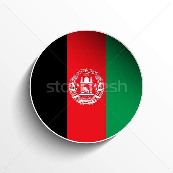 Afganistan banderą papieru kółko cień przycisk Zdjęcia stock © gubh83