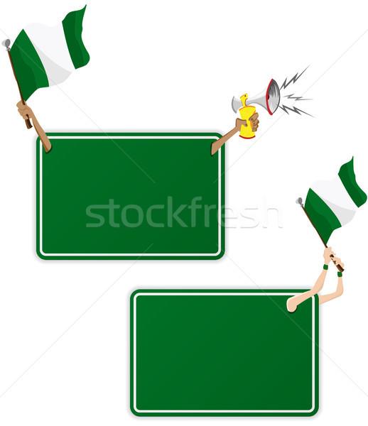 Nigéria esportes mensagem quadro bandeira conjunto Foto stock © gubh83