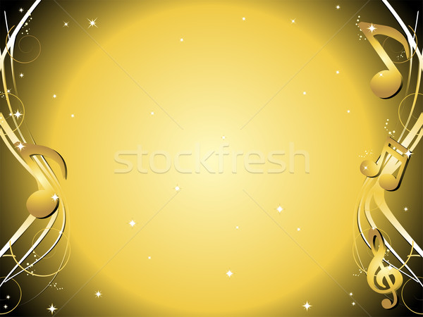 Golden Music notes background Stock photo © gubh83