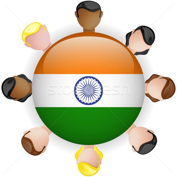 Stok fotoğraf: Hindistan · bayrak · düğme · takım · çalışması · insanlar · grup