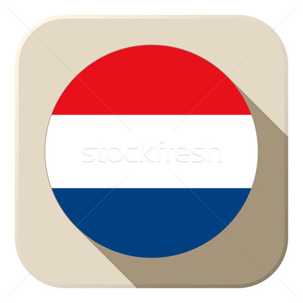 Netherlands Flag Button Icon Modern Stock photo © gubh83
