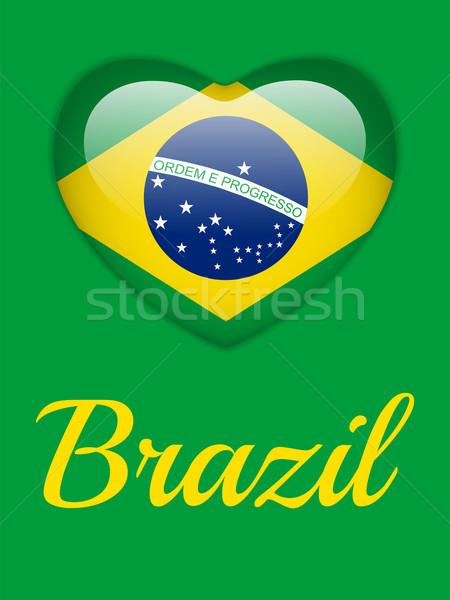 Brasile 2014 cuore bandiera vettore sport Foto d'archivio © gubh83