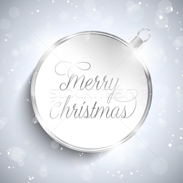 Stok fotoğraf: Neşeli · Noel · happy · new · year · top · gümüş · Yıldız