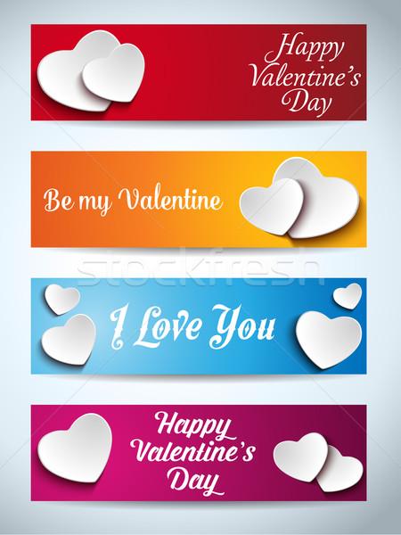 Stock fotó: Valentin · nap · szett · négy · háló · bannerek · vektor