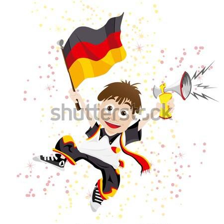 Czarny dziewczyna Hiszpania piłka nożna fan banderą Zdjęcia stock © gubh83