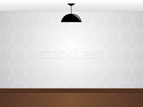 Empty white room wall with black lamp and wooden floor  Stock photo © gubh83