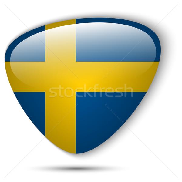 Svédország zászló fényes gomb vektor üveg Stock fotó © gubh83
