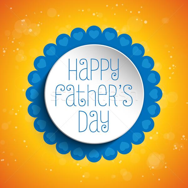 Stok fotoğraf: Mutlu · babalar · günü · mavi · kalp · vektör · kâğıt · sevmek
